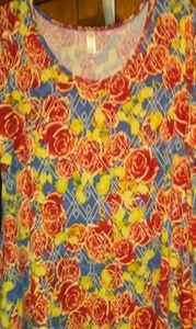 LulaRoe Irma Red Roses Over Blue T-shirt Top XL